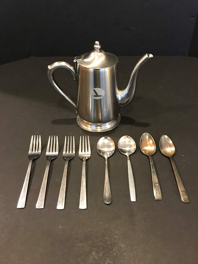 Lot # 95 - Eastern Airlines Coffee Pot, Delta Airlines Forks, Continental Airline Spoon, Hilton Spoon & More.. (main image)