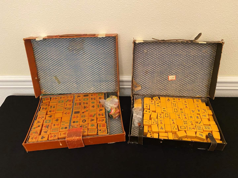 Lot # 143 - Two Vintage Set of Mah-Jongg Tiles (main image)