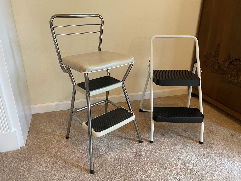 Lot # 151 - Vintage Seated Step Stool & Other Step Stool (main image)