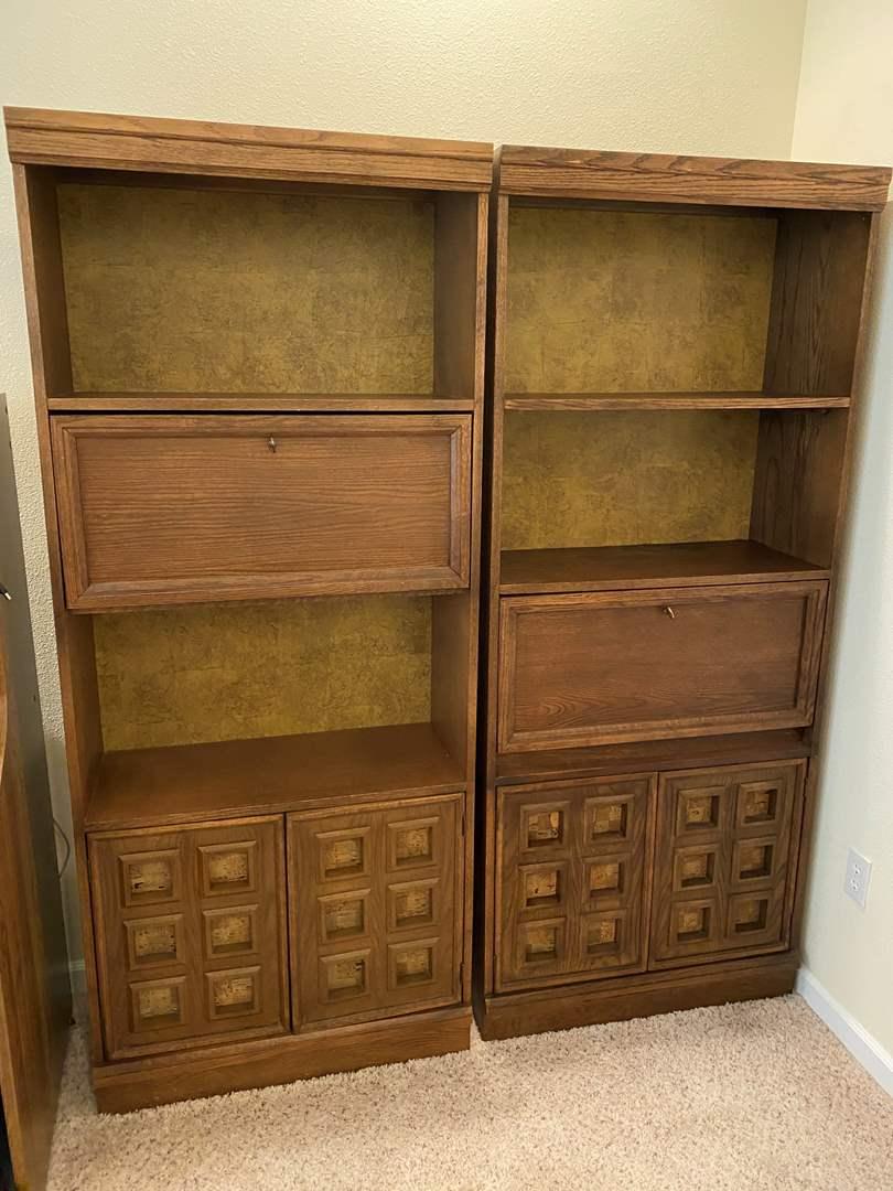 Lot # 162 - Two Vintage Wood Shelving Units (main image)