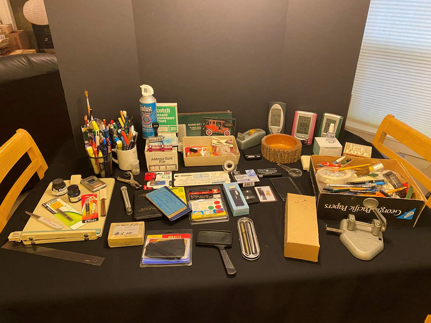 Lot # 166 - Office Supplies: Asian Ink Stamps, Pens, Pencils, Weather Stations, Tapes, Hole Punch & More.. (main image)