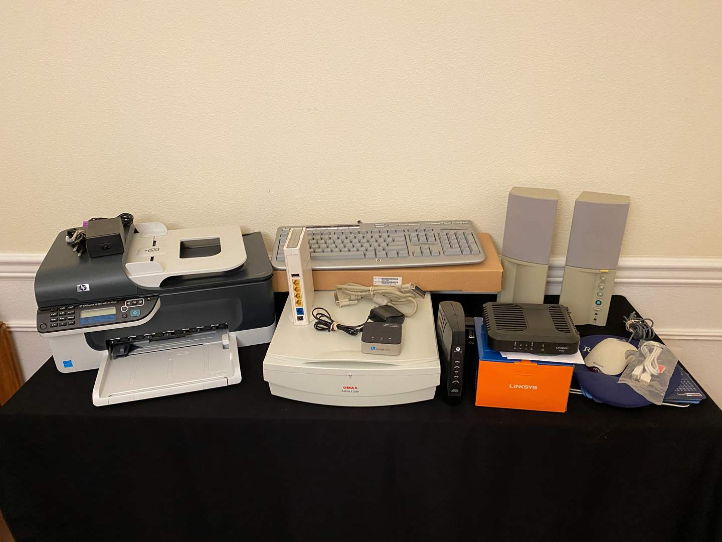 Lot # 173 - HP All-in-One Printer, Scanner, Routers, Speakers, Keyboards & More..  (main image)
