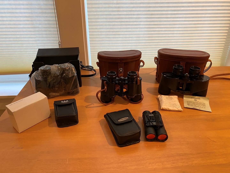 "Lot # 200 - Vintage Binoculars: 7x35 Nippon ""OFuna"" ,Nippon Mikron 8X35, New Bushnell Instafocus, & More.. (main image)"