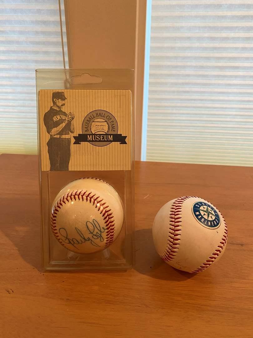 Lot # 202 - Vintage Signed Baseball & Mariners Baseball (main image)