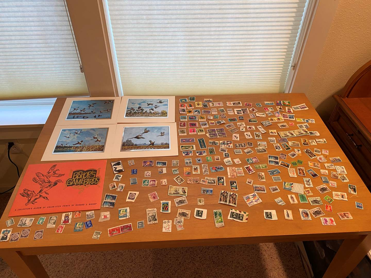 Lot # 204 - Bishop's Gamebirds Artwork, Small Stamp Collection from Around the World (main image)