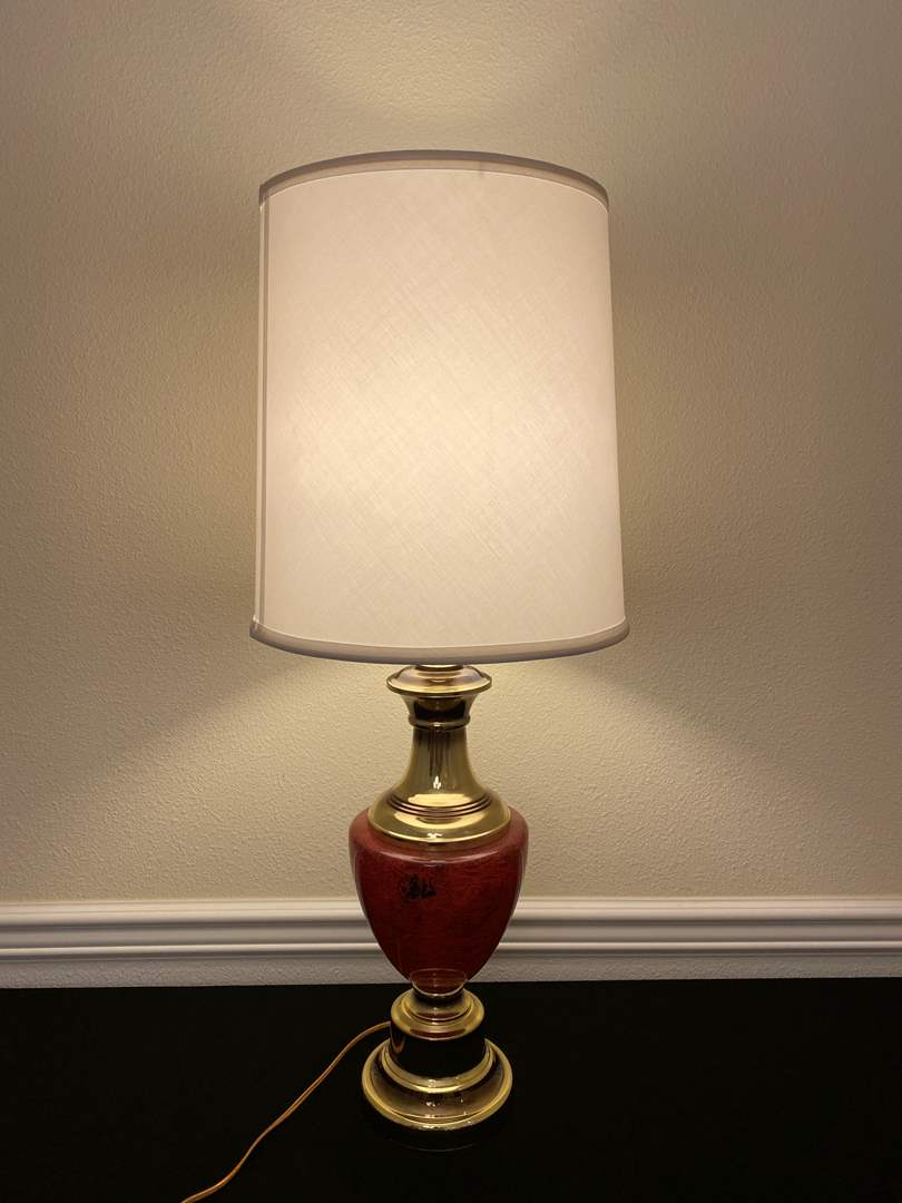 """Lot # 214 - Vintage """"Alsy"""" Glass & Brass Table Lamp - Works - 34""""Tall  (main image)"""