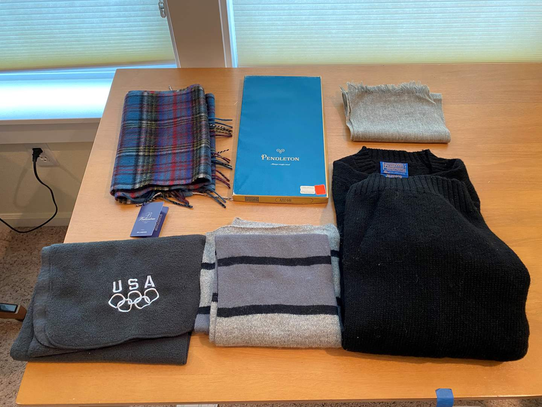 Lot # 217 - New Lambs Wool Scarf,  New Vintage Pendleton Scarf, Pendleton Sweater, Cashmere Scarf & More.. (main image)