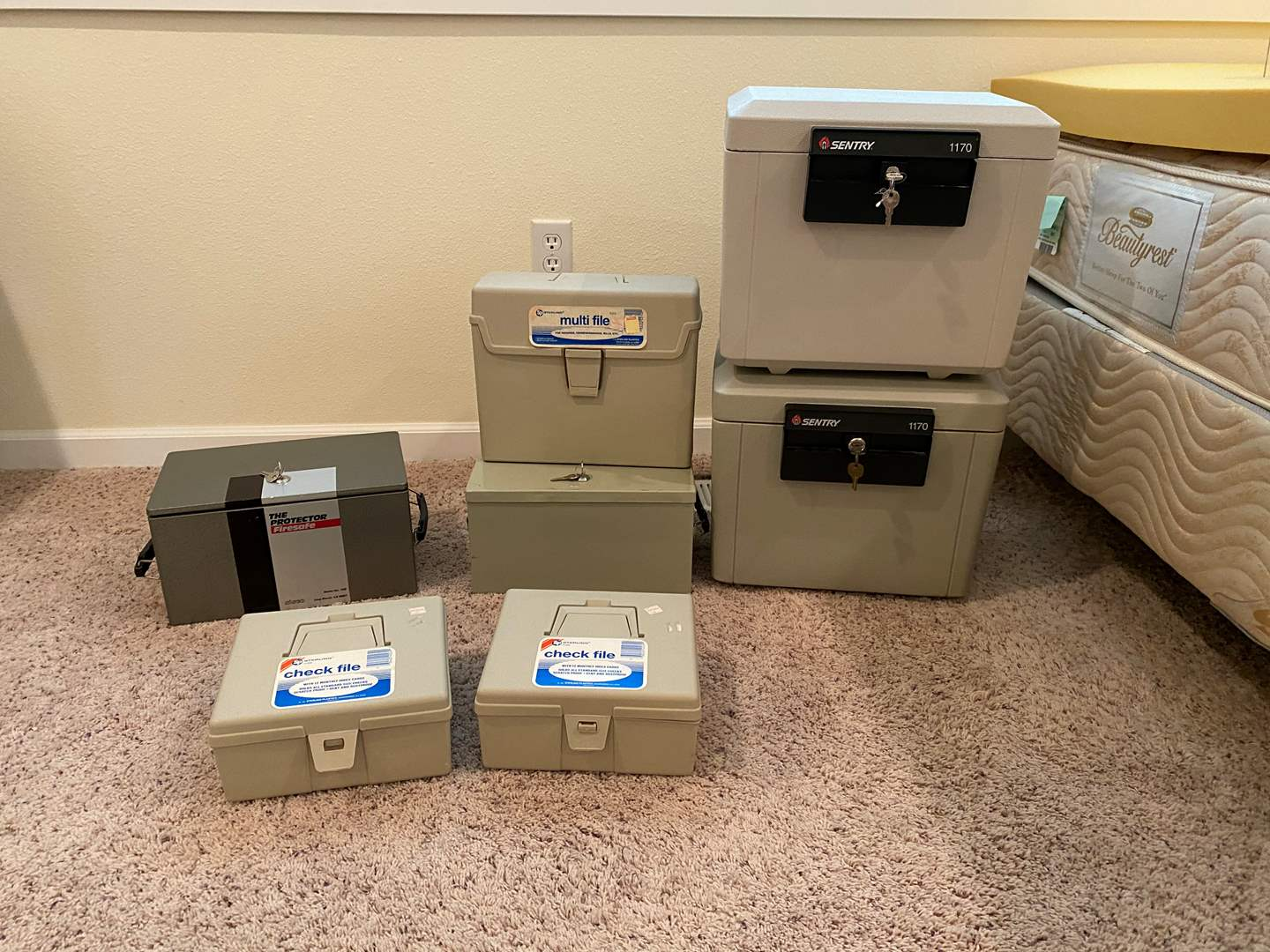 Lot # 226 - Four Locking Fire Safes & Misc. File Boxes (main image)