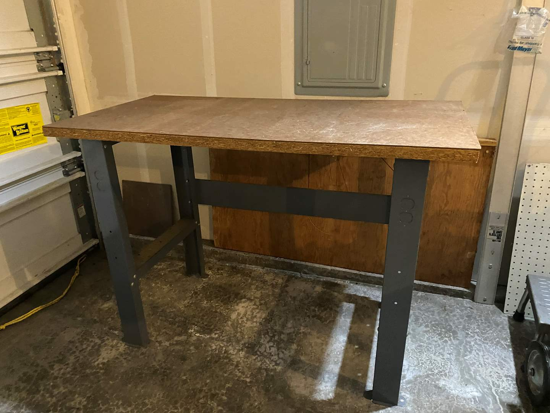 Lot # 320 - Metal Work Bench w/Wood Top (main image)
