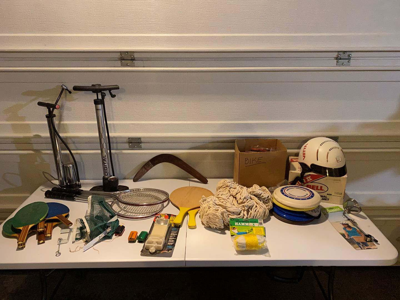 Lot # 344 - Vintage Bicycle Gear, Hammock, Ping Pong Net, Paddles & More.. (main image)