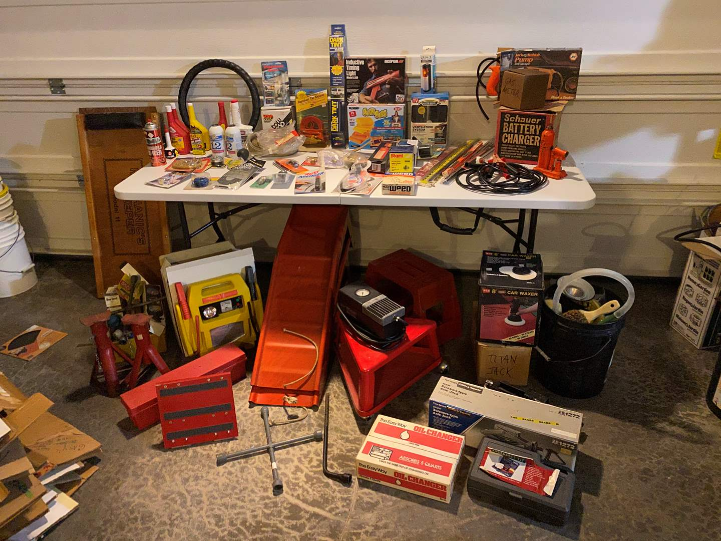 Lot # 345 - Car Equipment: Ramps, Jump Starters, Buffer, Creepers, Accessories, Jacks & More.. (main image)