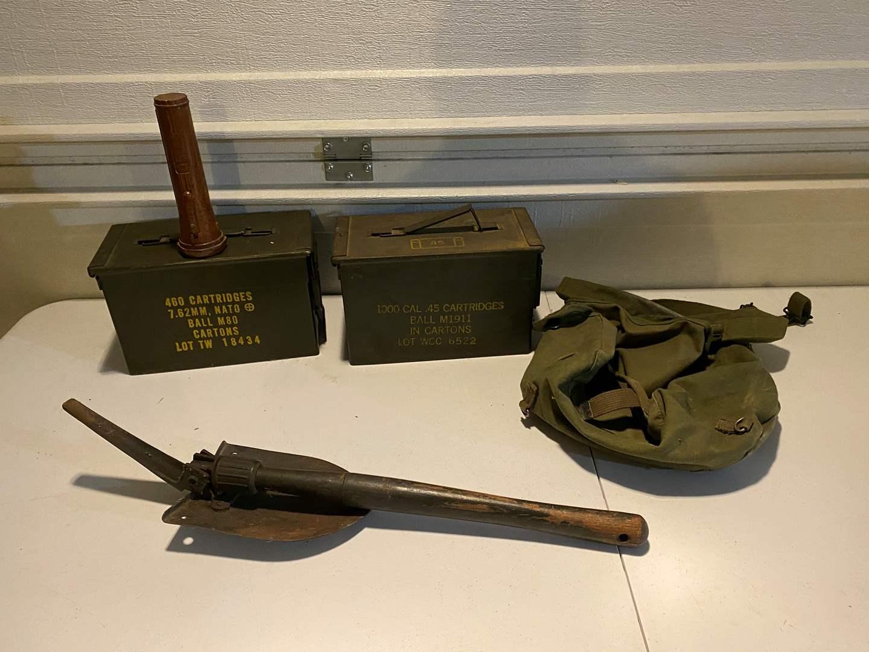 Lot # 350 - Military Ammo Boxes, Shovel, Bags & Flashlight (main image)