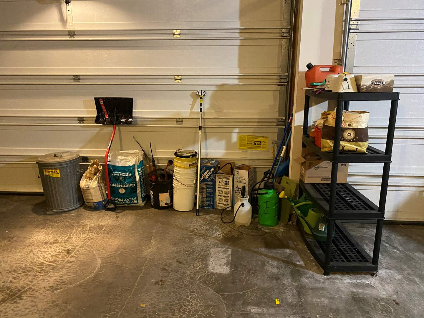 Lot # 363 - Heavy Duty Resin Shelf w/Gardening Supplies, Snow Shovel, Fertilizers, Sprayers, Clippers & More.. (main image)