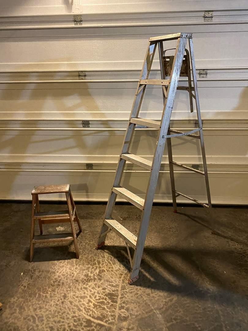 Lot # 365 - Aluminum Step Ladder, Small Wood Step Ladder (main image)