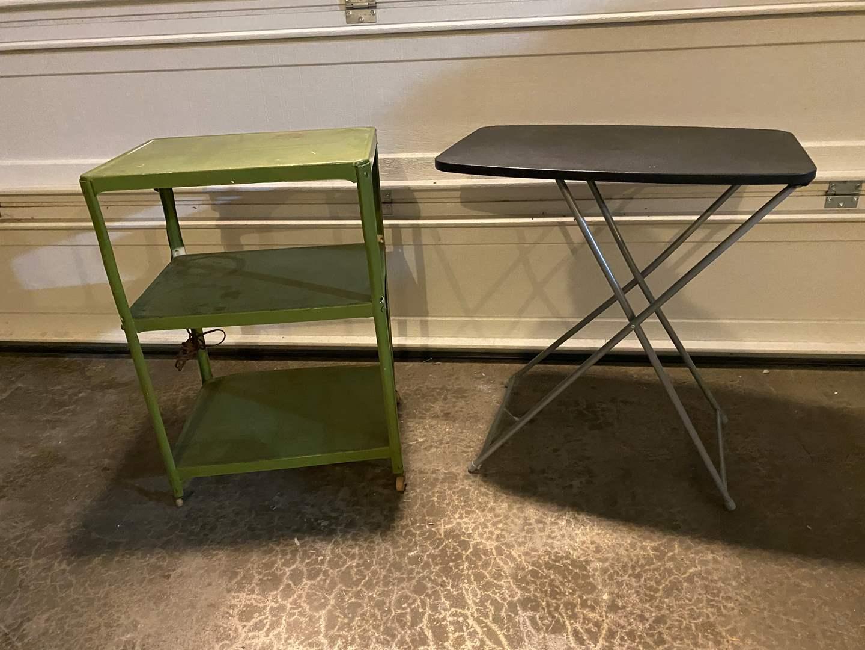 Lot # 367 - Vintage Metal Rolling Cart, Folding Adjustable Table  (main image)