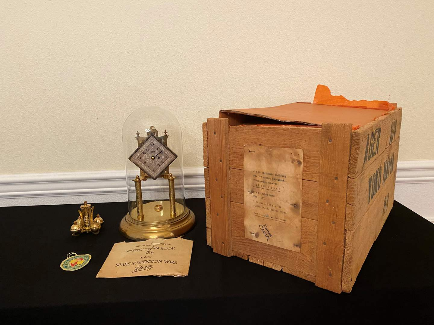 "Lot # 131 - New ""Schatz"" Brass & Glass Anniversary Clock w/Original Crate (main image)"