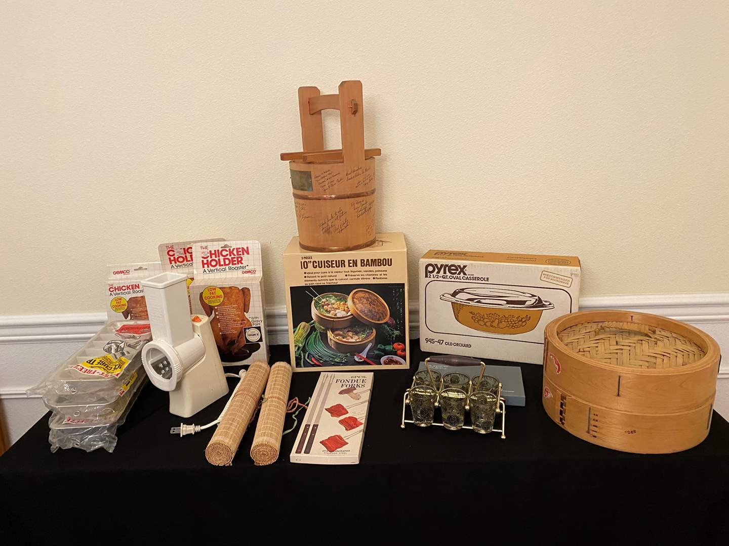 Lot # 246 - New in Box Vintage Pyrex Dish, Mid-Century Shot Glass, New in Box Bamboo Steamer, Vintage Ice Trays & More.. (main image)