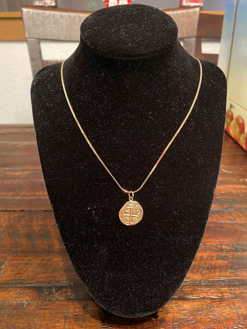 """Lot # 264 - 14k Gold 24"""" Necklace & Pendant - (Both Tested - 7.97 grams) (main image)"""