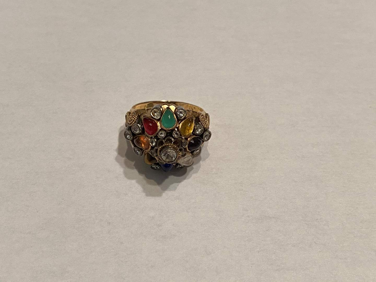 Lot # 267 - Vintage 14k Gold Cocktail Ring w/ Misc Stones - (Stamped & Tested - 6.89 grams) (main image)