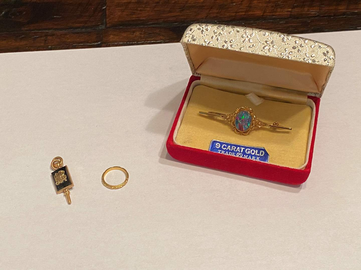 Lot # 274 - 9k Gold Broach, 10k Gold Pendant, Tiny 10k Gold Ring - (Stamped & Tested - Total 7.17 grams) (main image)