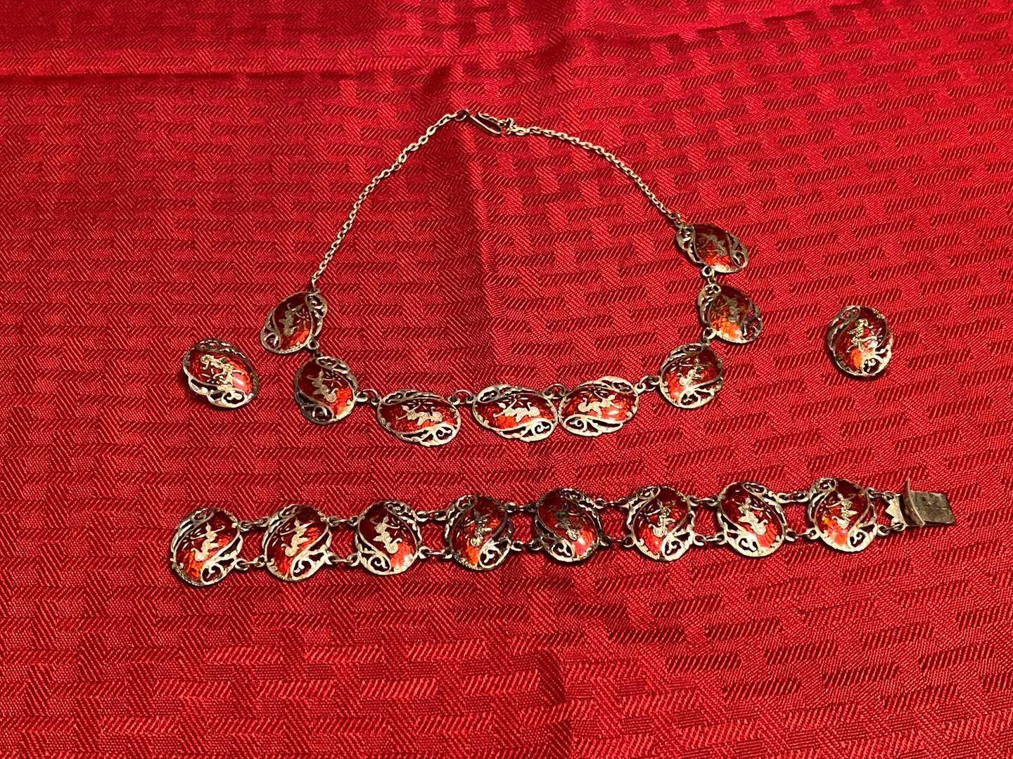 Lot # 277 - Vintage Siam Sterling Silver & Red Turquoise Jewelry Set - (Stamped - 46.64 grams) (main image)