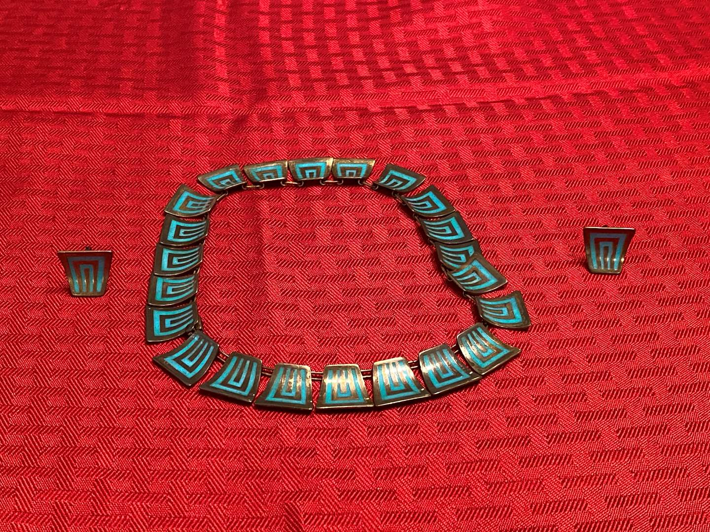 Lot # 279 - Vintage Turquoise Mexican Sterling Silver Necklace & Earrings - (Stamped - 84.28 grams) (main image)
