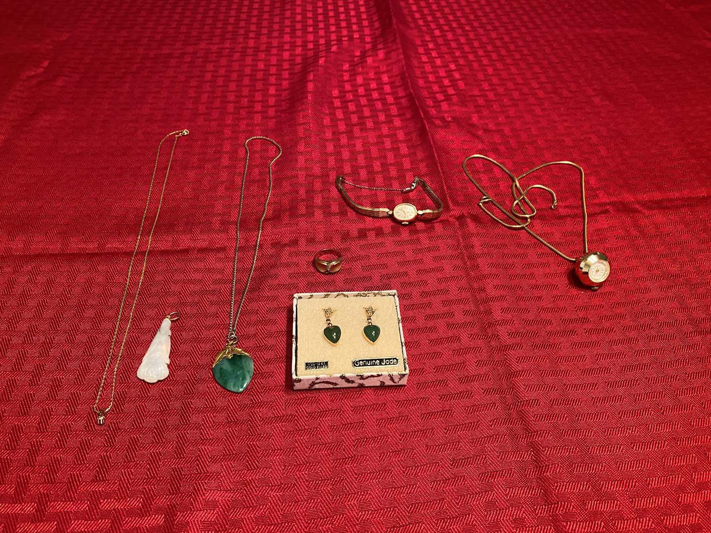 Lot # 286 - Gold Filled & Jade Necklace, Earrings, Gold Filled Ring, Gold Filled Watch & More. (main image)