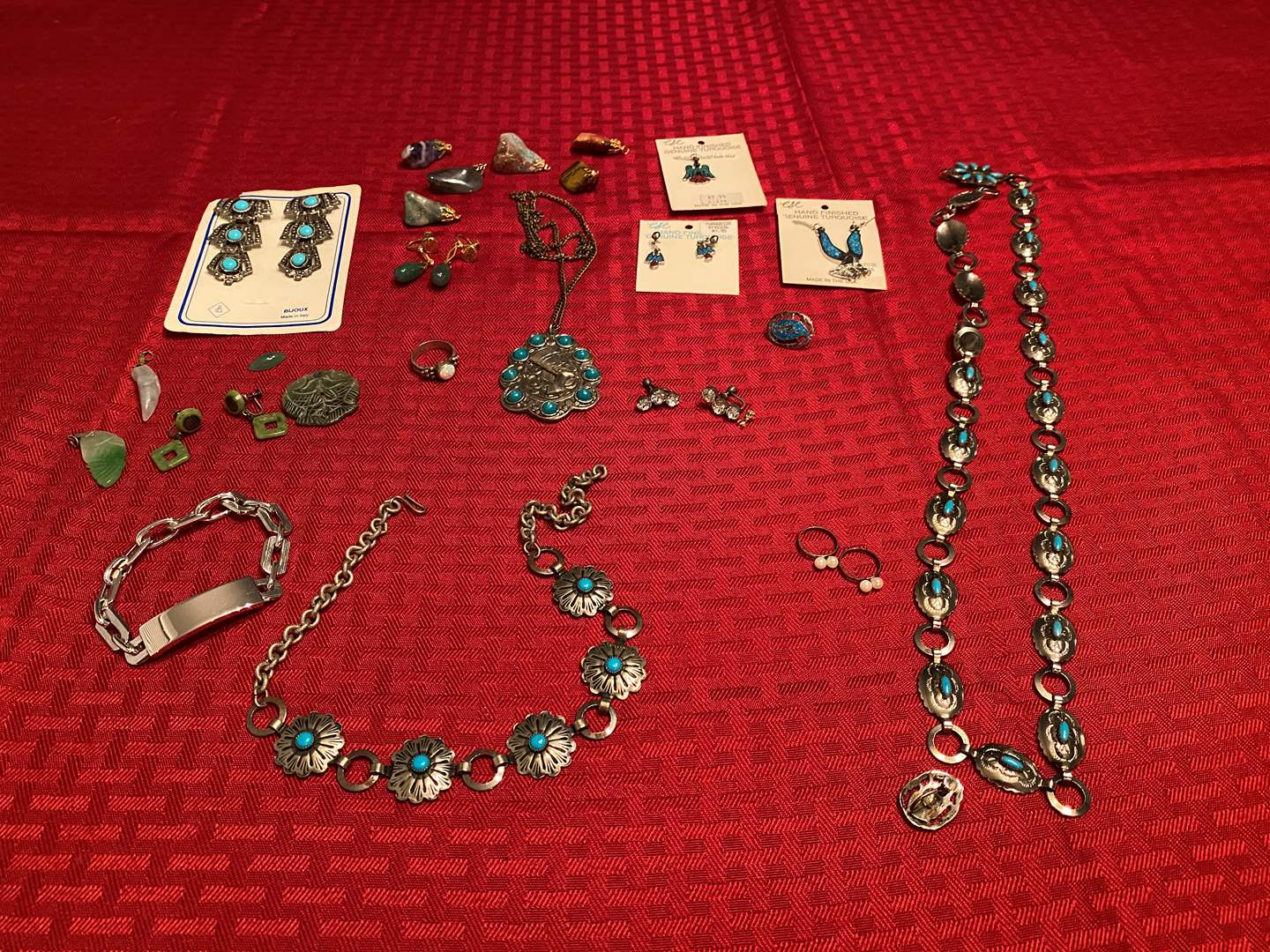 Lot # 288 - Two Small Silver Pearl Rings, Jade, Turquoise, Swank Bracelet, Rock Pendants & More. (main image)