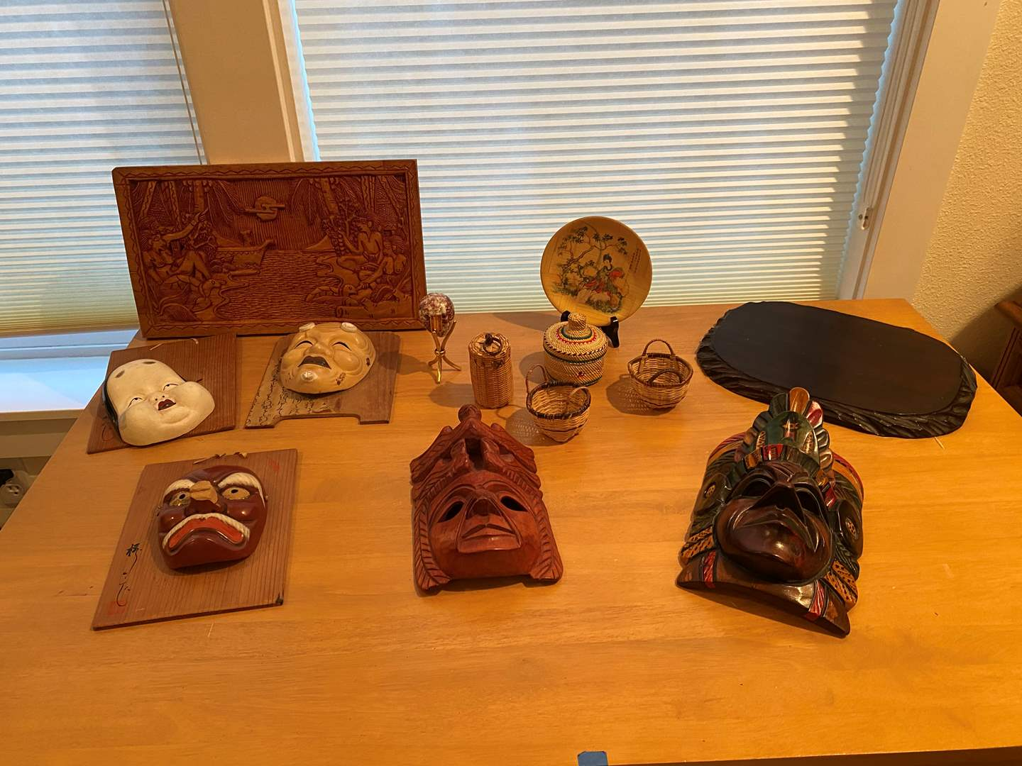 Lot # 248 - Asian Masks, Wood Wall Art Carving, Italian Glass Egg, Small Baskets & More. (main image)