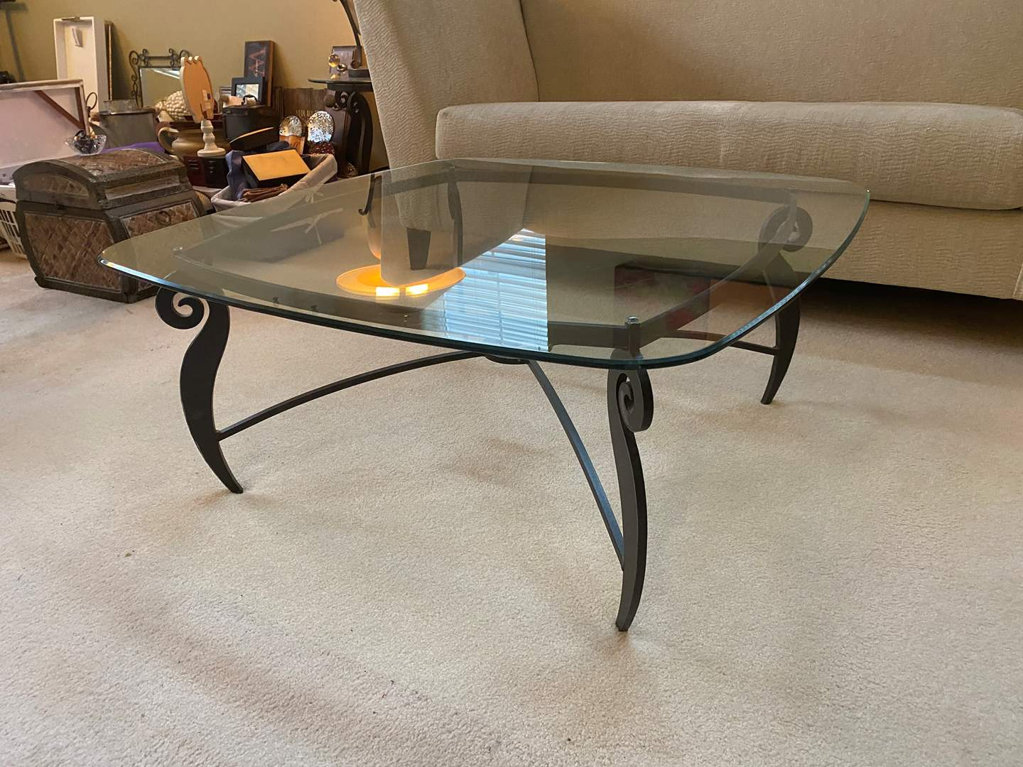 "Lot # 4 - Nice 1/2"" Glass Topped Coffee Table w/ Heavy Solid Metal Base (main image)"