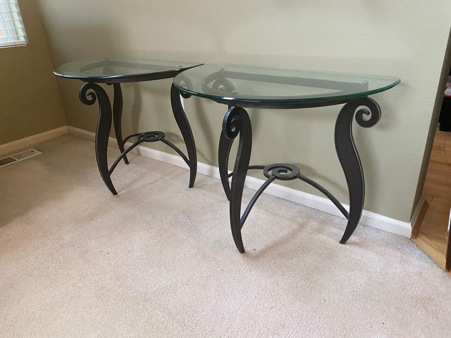 """Lot # 5 - Two Matching 1/2"""" Glass Topped Side Tables w/ Heavy Solid Metal Bases (main image)"""