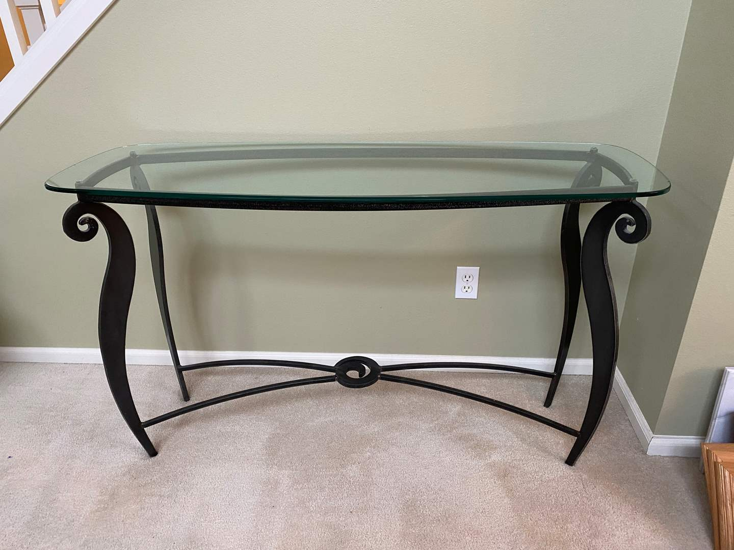 """Lot # 6 - Matching 1/2"""" Glass Topped Sofa Table w/ Heavy Solid Metal Base (main image)"""