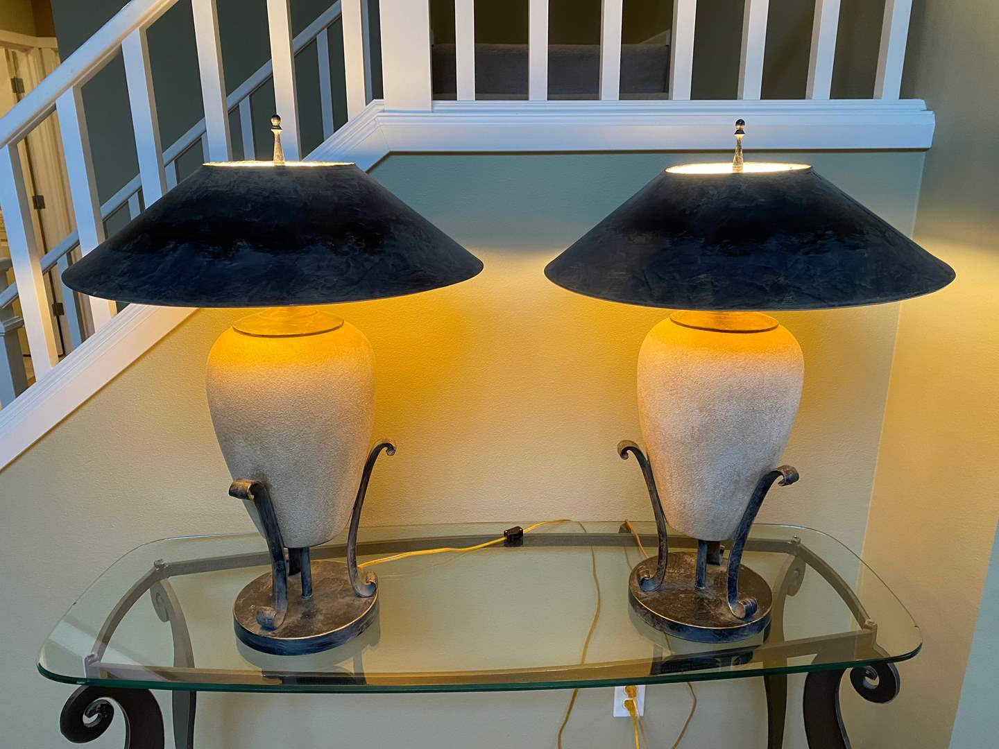 """Lot # 7 - Two Nice Ceramic & Metal Table Lamps - 29"""" Tall - Works (main image)"""