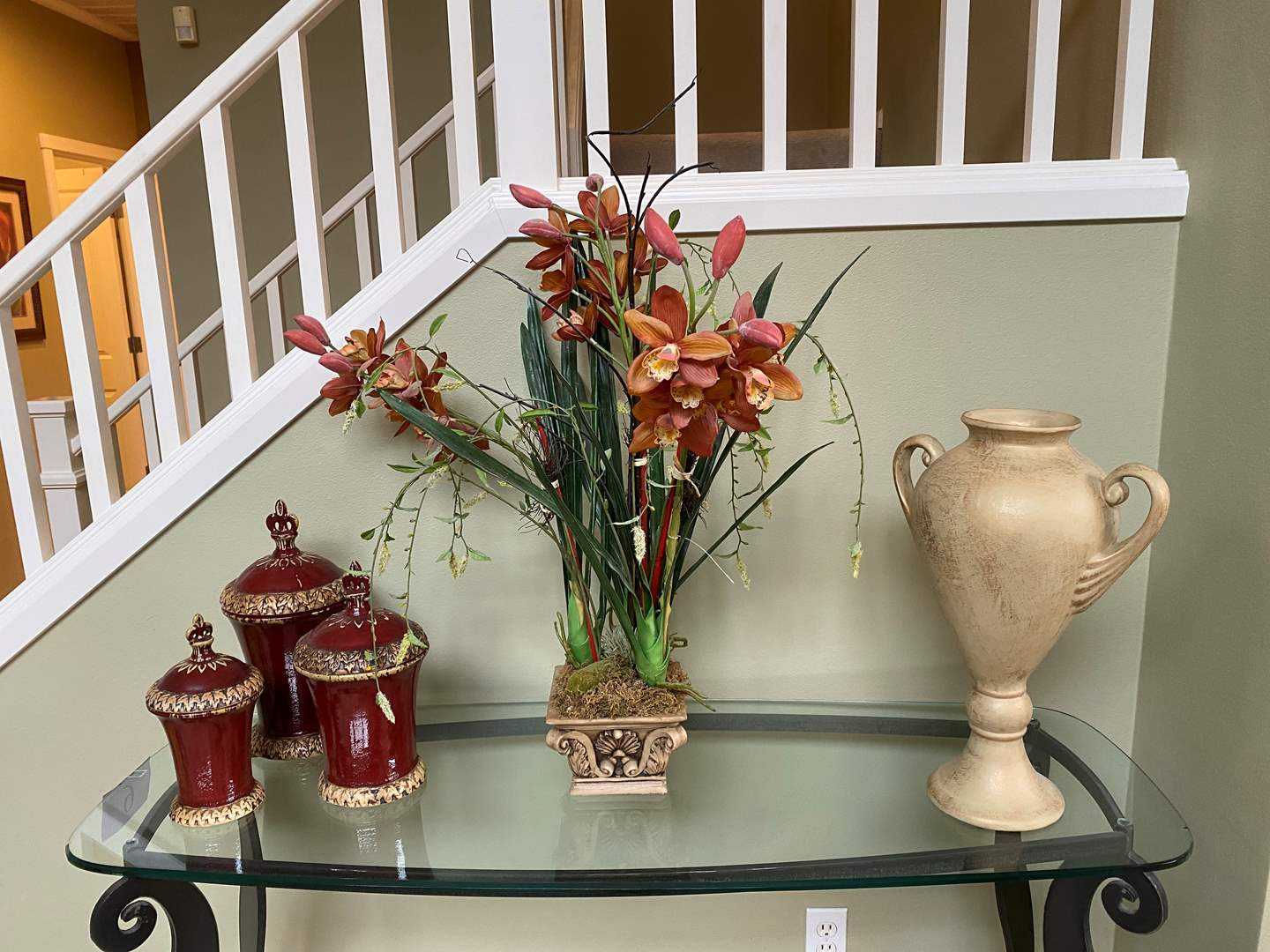 Lot # 8 - Home Decor: Tall Ceramic Vase, Potted Faux Plant, Ceramic Canisters (main image)