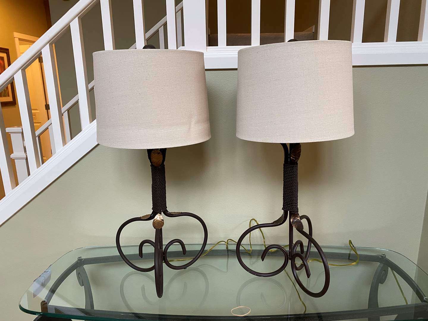 """Lot # 10 - Two Heavy Metal Table Lamps - 30"""" Tall - Work (main image)"""