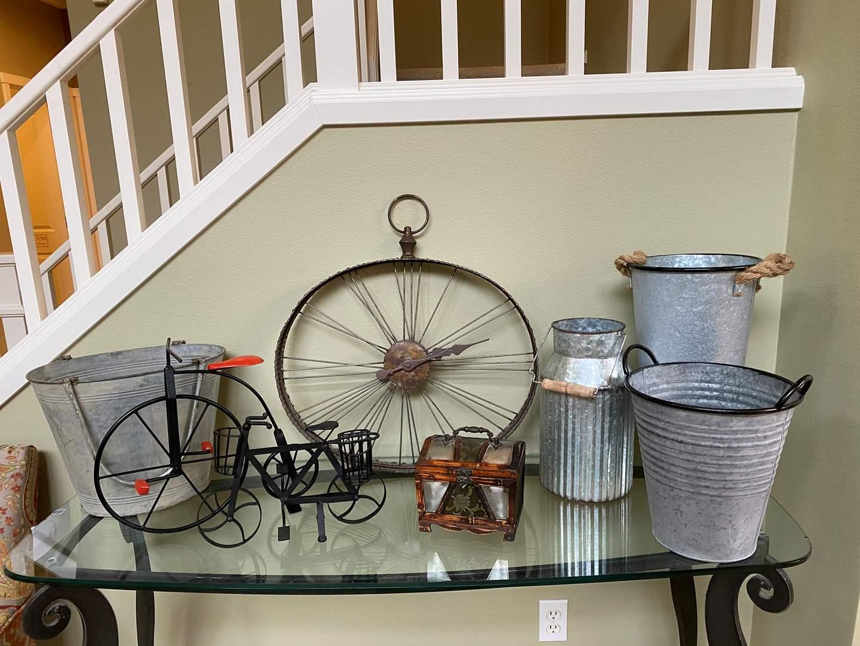 Lot # 16 - Rustic Home Decor: Rustic Metal Cans, Rustic Metal Clock, Metal Bicycles, Small Wood Keepsake Box (main image)