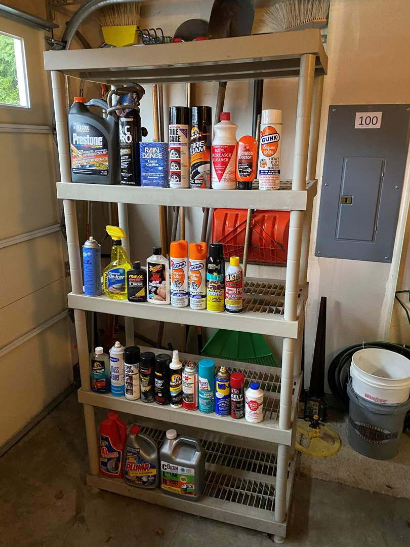 Lot # 101 - Resin Shelving Unit w/Misc. Car & Cleaning Chemicals  (main image)