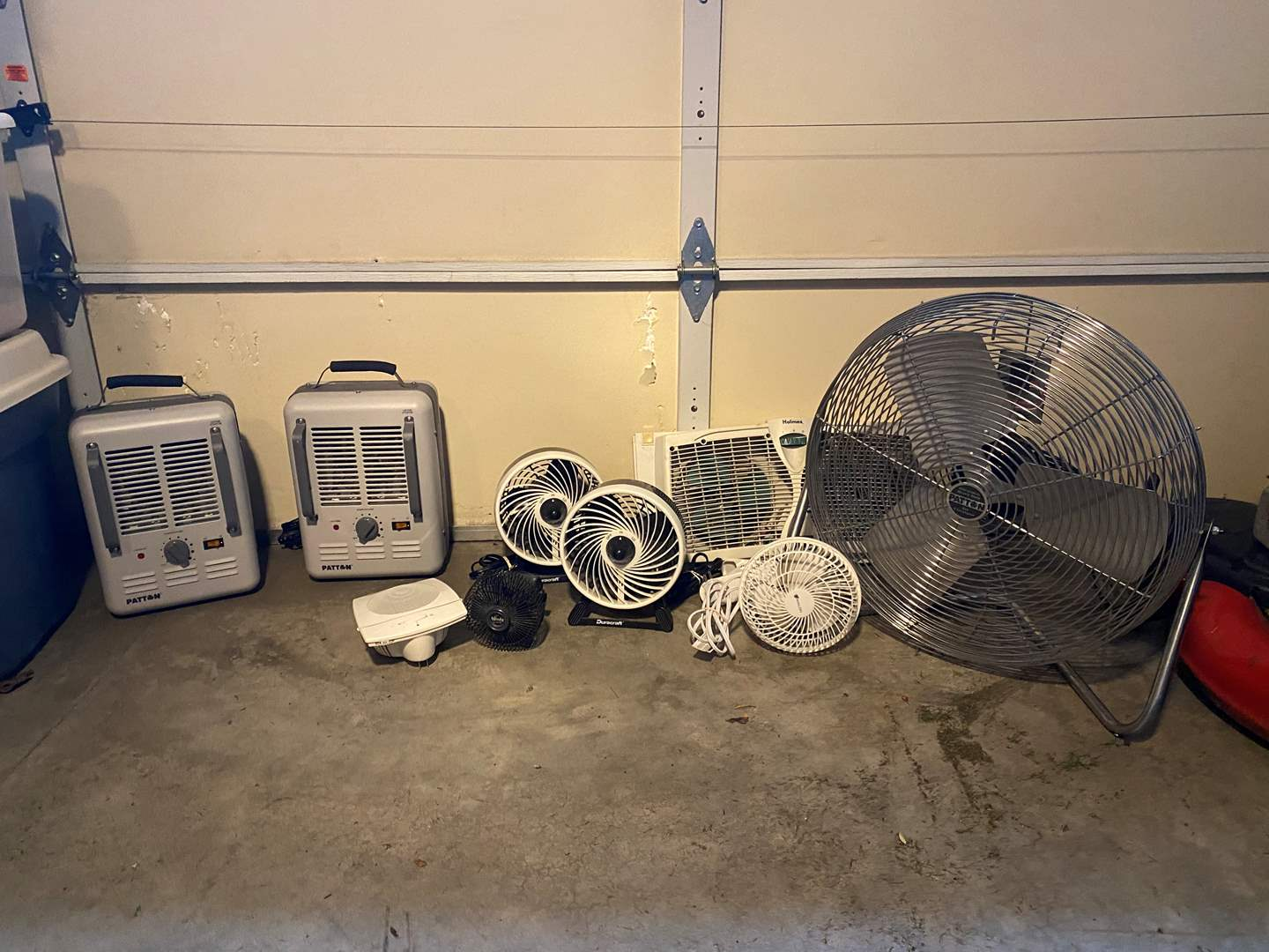Lot # 106 - Patton High Velocity Fan, Two Patton Electric Heaters & Other Small Fans (main image)