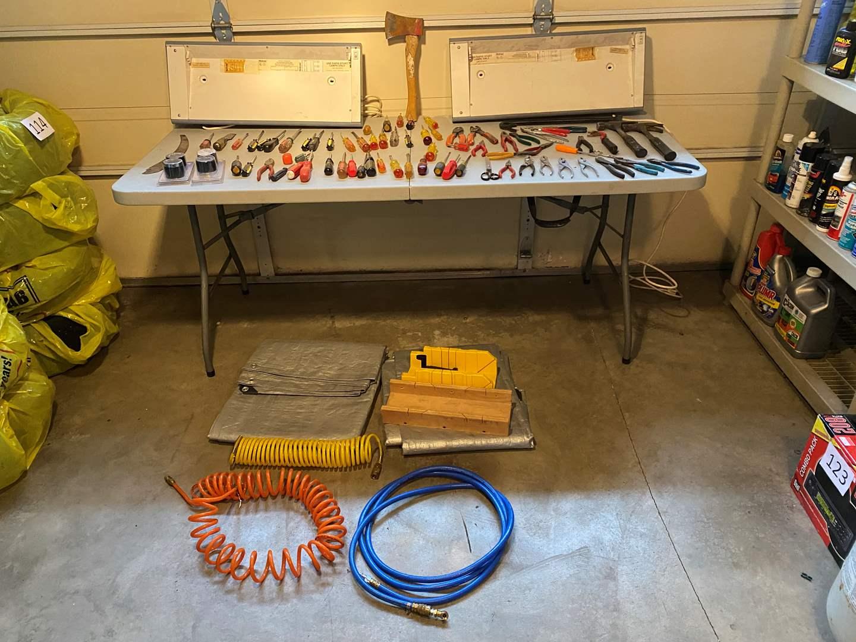 Lot # 149 - Tarps, Air Hose, Screwdrivers, Pliers, Shop Light Fixtures, Hammers & More.. (main image)