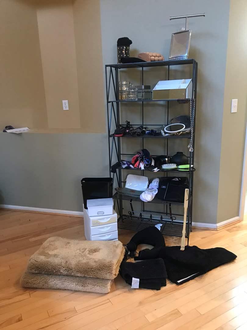 Lot # 84 - Bathroom Items: Small Towel Rack, Door Rack, Glass Jar Holders, Used Curling Irons, Bath Rugs & More.. (main image)