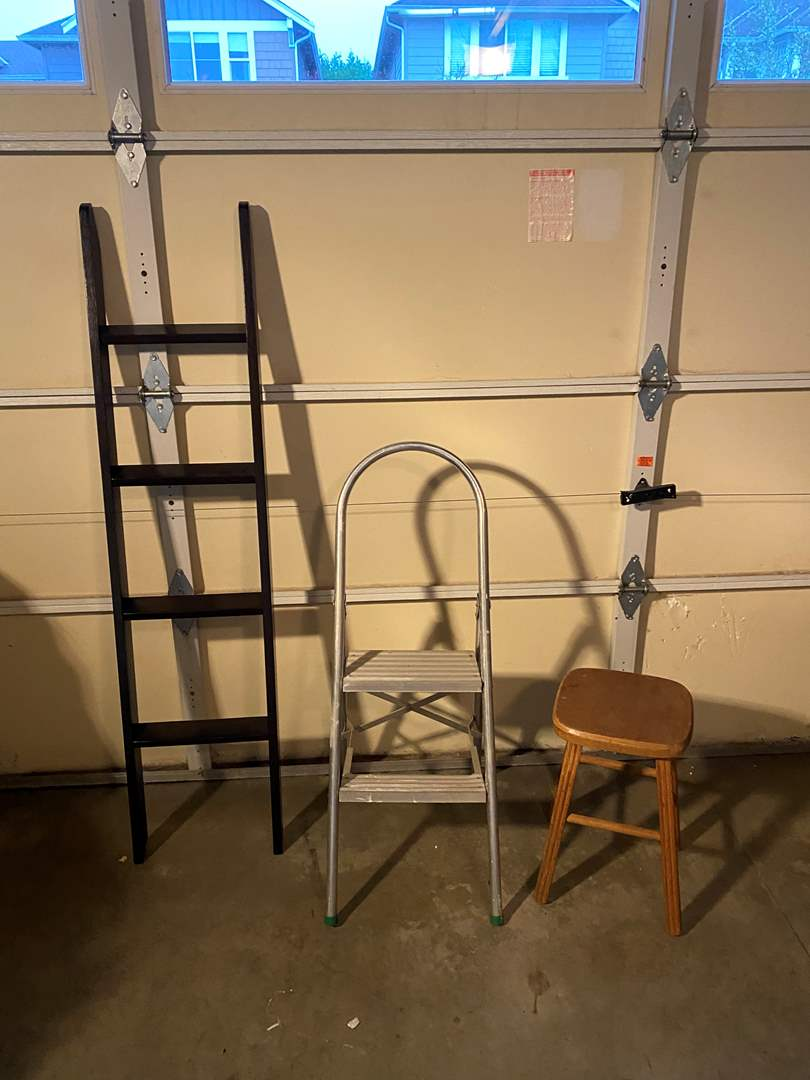 Lot # 168 - Wood Stool, Metal Shop Stool & Small Wood Ladder (main image)