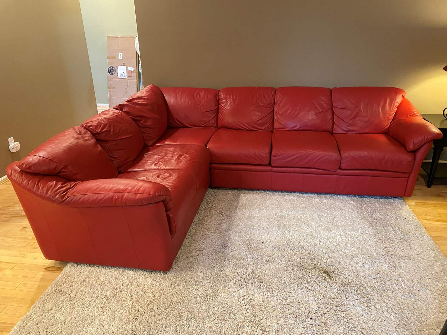 Lot # 79 - Nice Red Leather (Naples) Sectional Sofa Purchased from Dania Furniture  (main image)