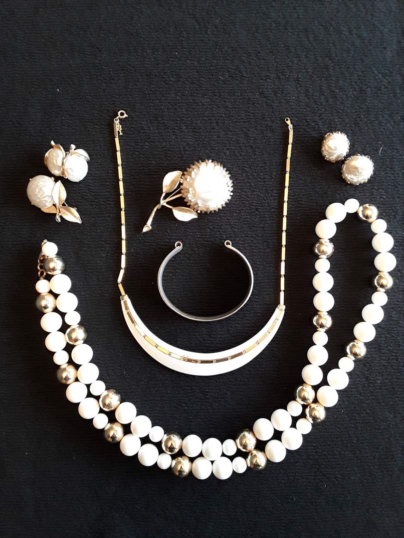 Lot # 64 - Lot of (9) Gold-Tone and White Costume Fashion Jewelry (Miriam Haskell) (main image)