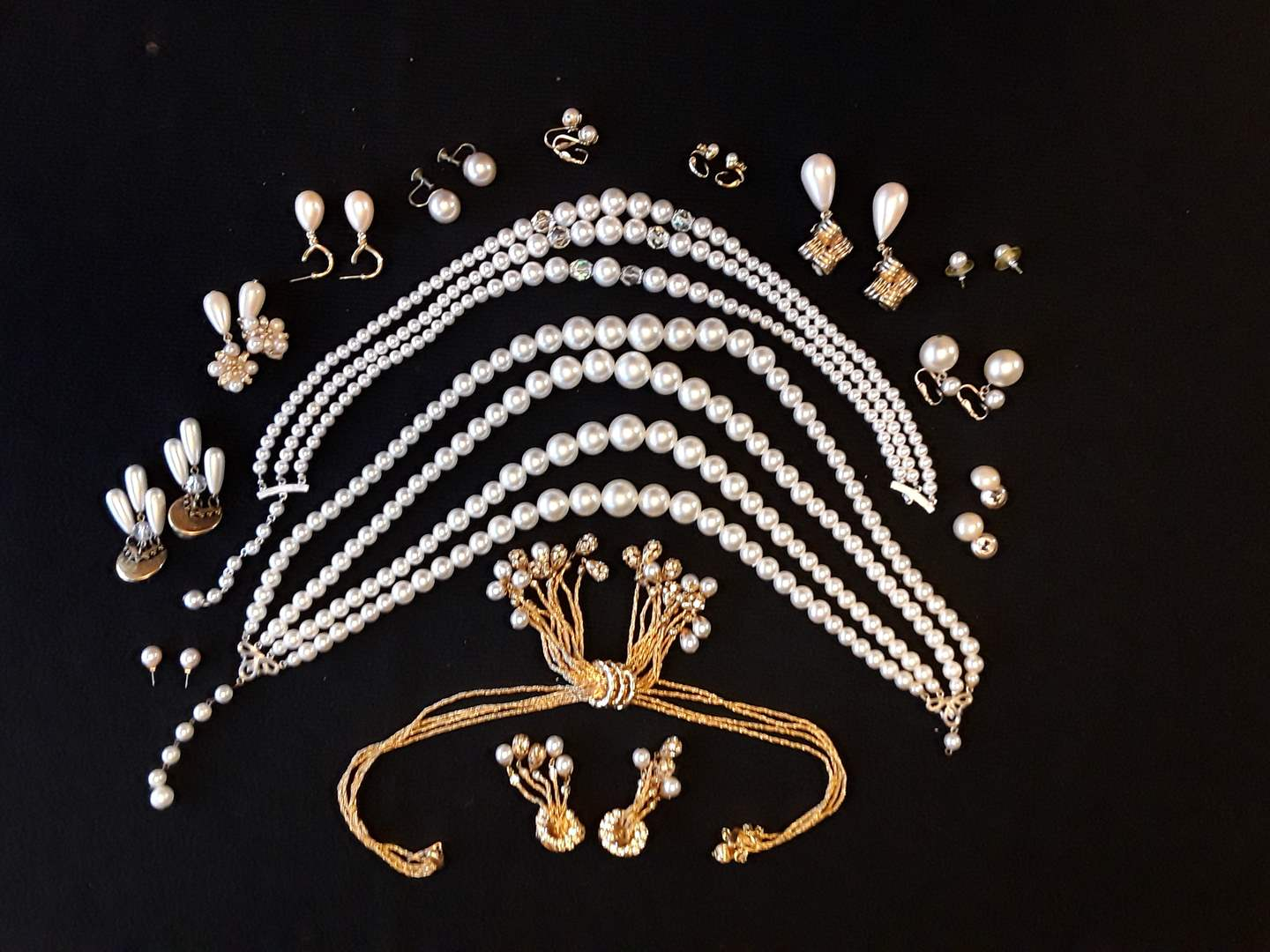 Lot # 65 - Lot of (14) Pearl and Gold-Tone Costume Fashion Jewelry (main image)