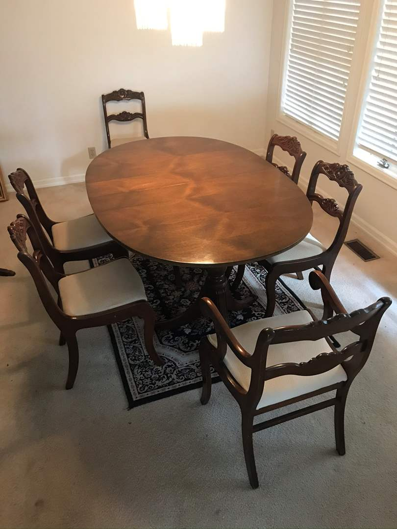 Lot # 1 - 1930's Duncan Phyfe Mahogany Double-Pedestal Table (w/3 leaves) and 6 Rare Rose Back Mahogany Chairs - Tell City Furn. (main image)