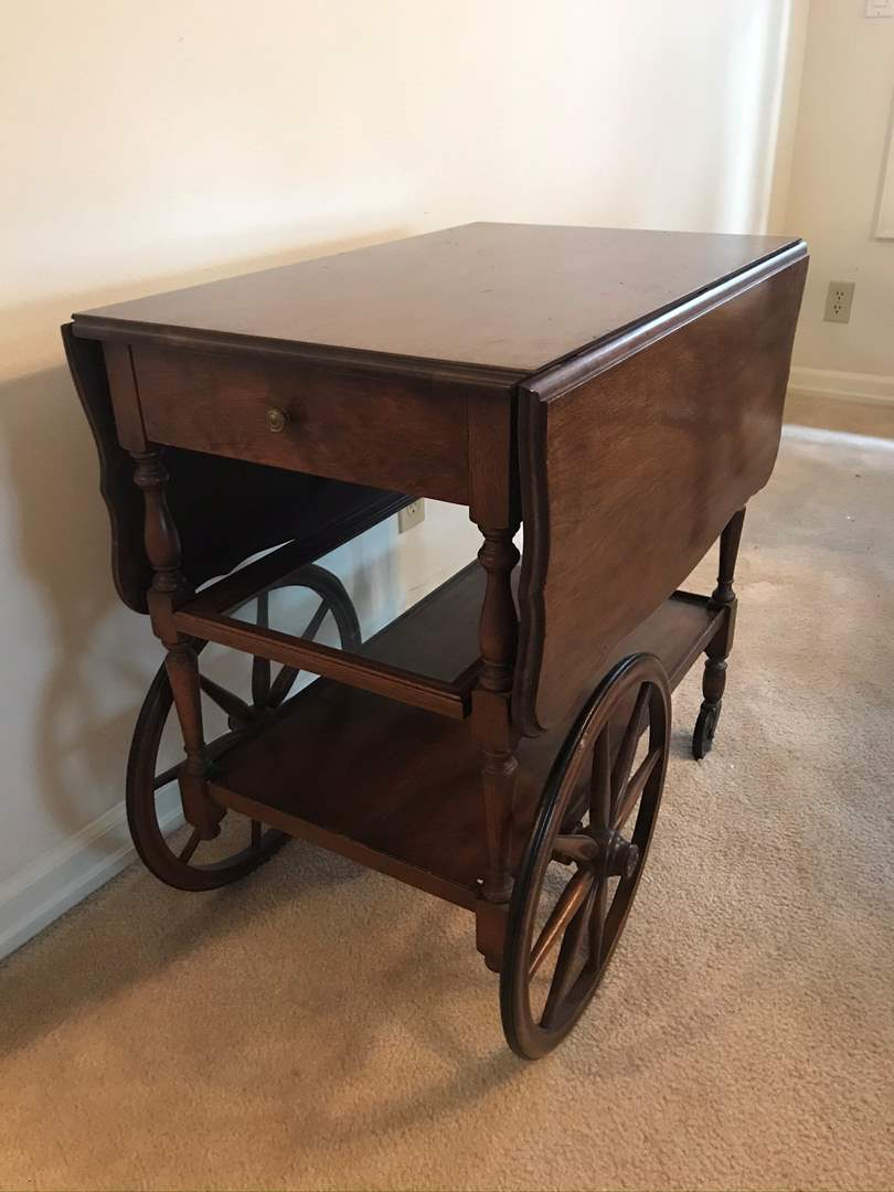 Lot # 5 - Antique Imperial Mahogany Wagon Wheel Drop Leaf Tea Cart  (main image)