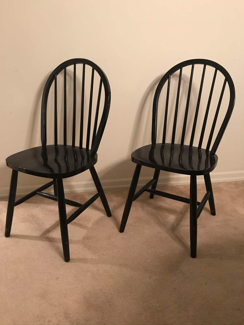 Lot # 7 - Pair of (2) Black Windsor Chairs (main image)