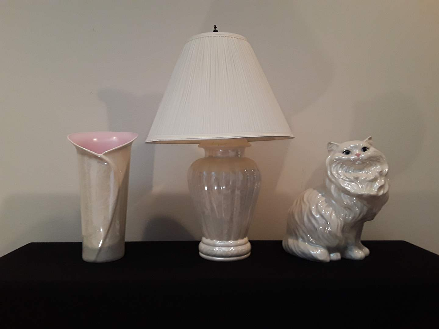 Lot # 23 - Lot of (3) Ceramic White/Pink Luster Pieces (lamp, cat, vase) (main image)