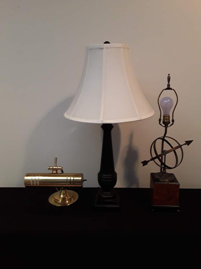 Lot # 25 - Lot of (3) Black/Brown Desk Lamps (Bankers, Astrolabe) (main image)