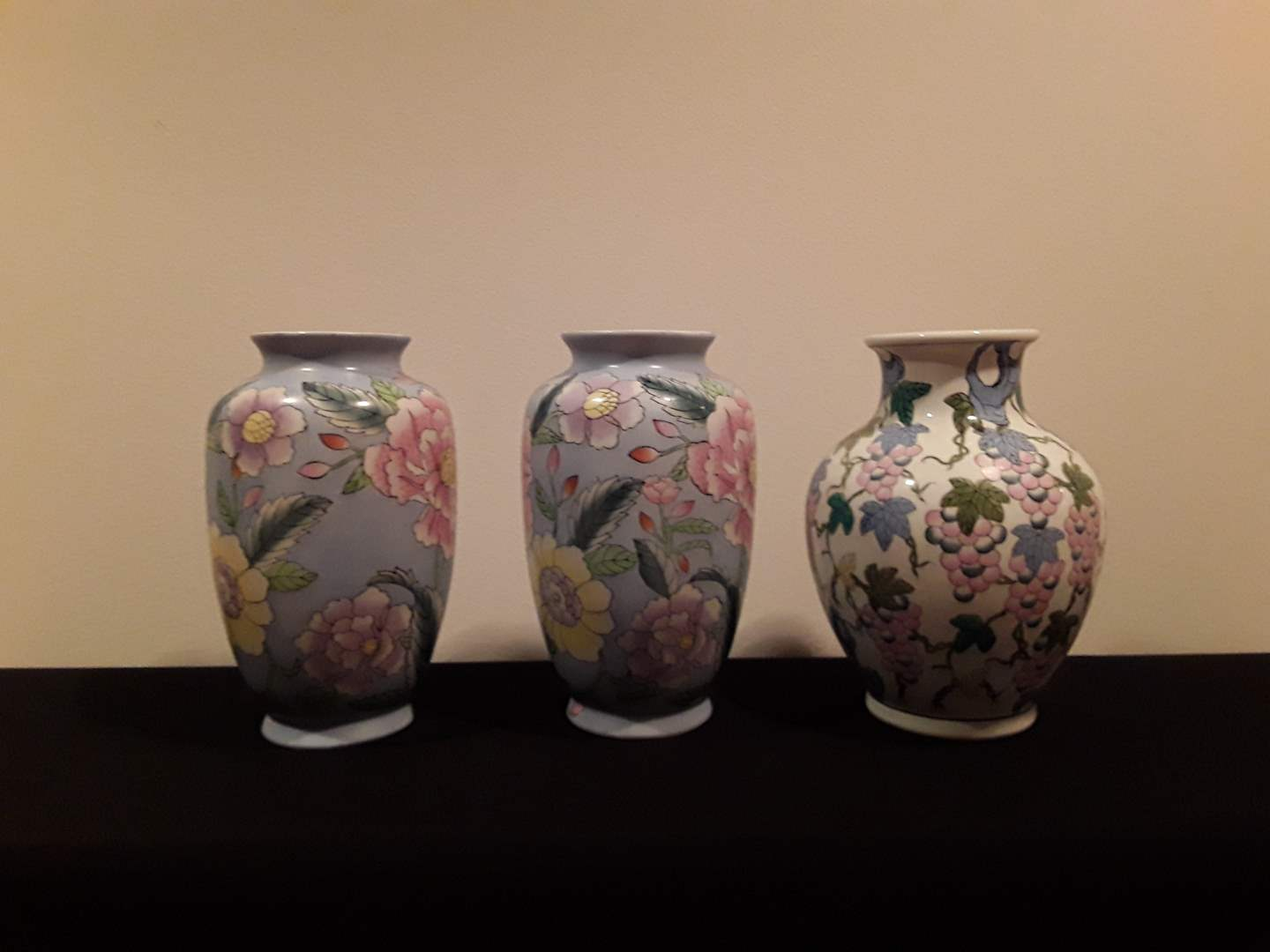 Lot # 30 - Lot of (3) Asian Floral Vases (pastels) (main image)